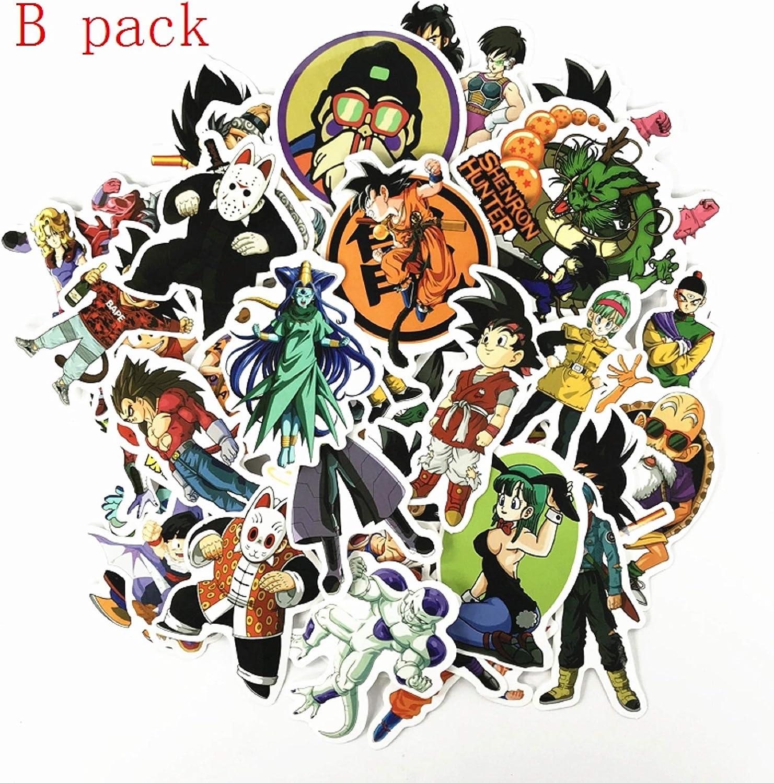 Anime Dragon Ball Z Super Saiyan Goku Sticker Decals For Skateboard Laptop 50Pcs