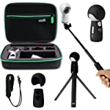 Shockproof Protective Carrying Case, Selfie Stick Monopod, Mini Tripod Stand, Soft Silicone Skin, Wrist Strap for Samsung Gear 360 2017, EEEKit All in One Accessory Kit