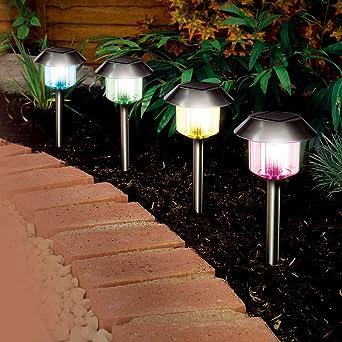 Solalite Lanterne Lampe Jardin Solaire Acier Inoxydable Changement