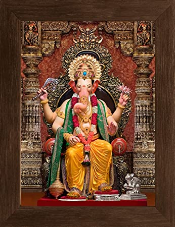 Buy Paramorasi Imported Italian Fabric Hd Printed Lord Ganesh Hindu God Photo Frame 25 X 33 Cm Online At Low Prices In India Amazon In