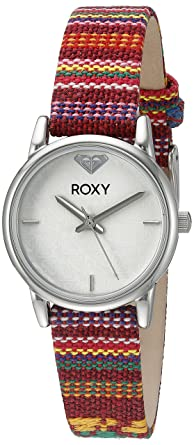 782e18ddc Roxy Women's RX/1018WTRD THE HUNTINGTON Stainless Steel Watch With Red  Multi-Colored Fabric