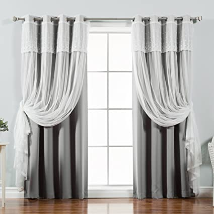amazon com best home fashion mix match tulle sheer with attached rh amazon com sheer curtains with blinds embroidered sheer curtains