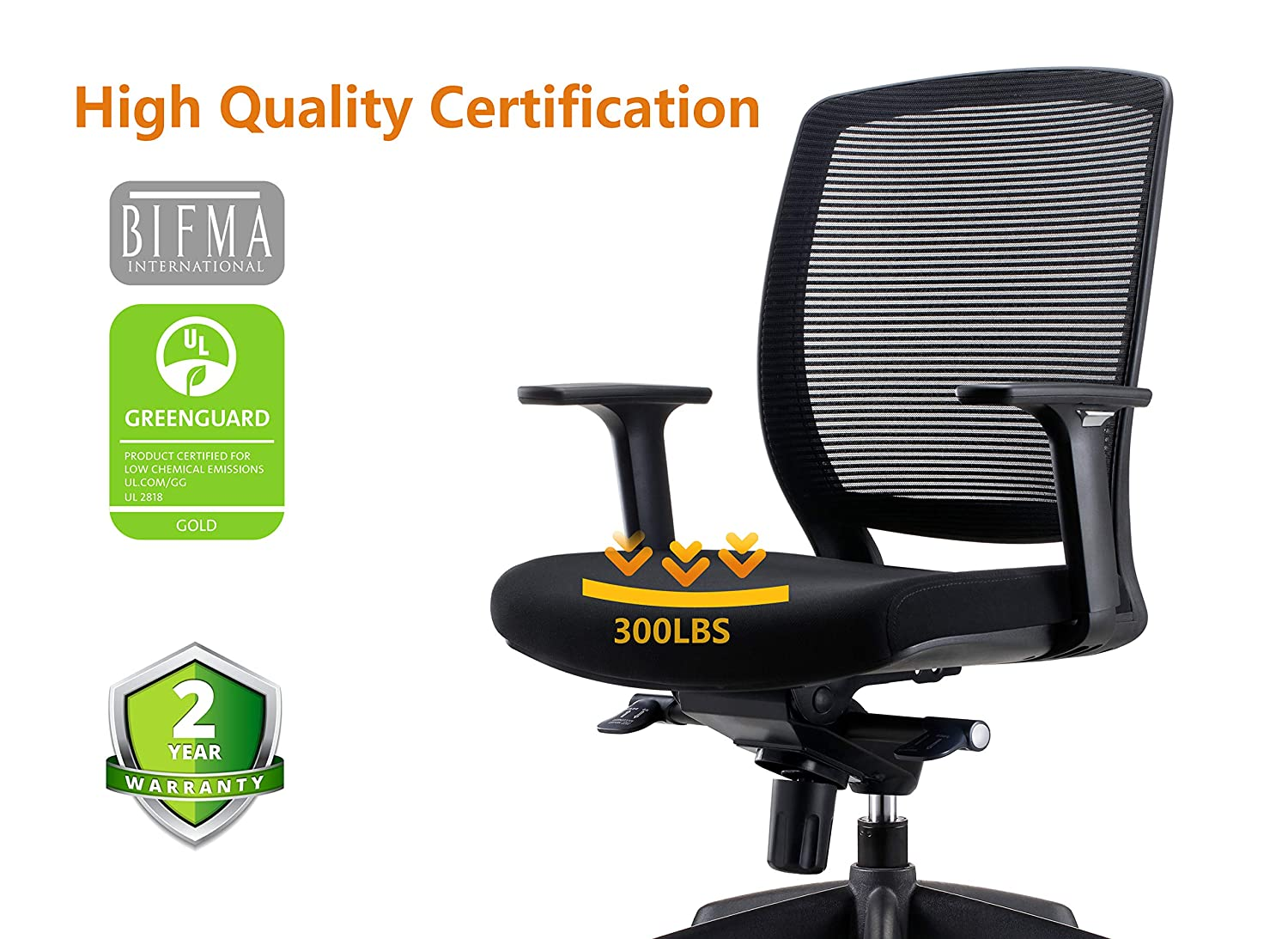 Chairlin Ergonomic Office Chair with Arms Comfortable Task Chair Adjustable Desk Chair Black