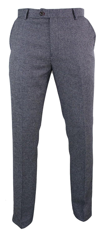 Mens Herringbone Tweed Vintage Retro Check Wool Trousers Peaky Blinders Classic Cavani