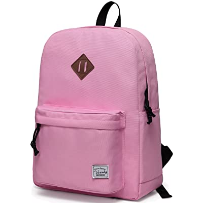 Lightweight Backpack for School, VASCHY Classic Basic Water Resistant Casual Daypack for Travel with Bottle Side Pockets (Pink): Clothing
