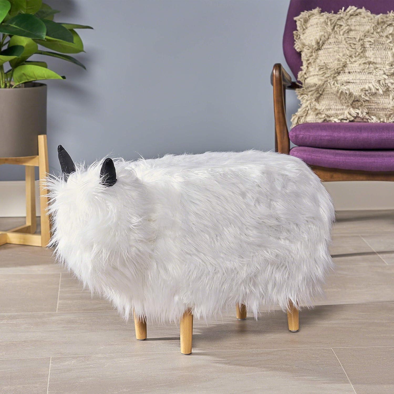 Great Deal Furniture 305822 Kamla Furry Yak Ottoman, White, Natural Finish