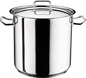 Hascevher Classic Stainless Steel Chef's Induction Stockpot with Lid, Multi-Purpose Cookware Engineered with Encapsulated Base (38 Quart)