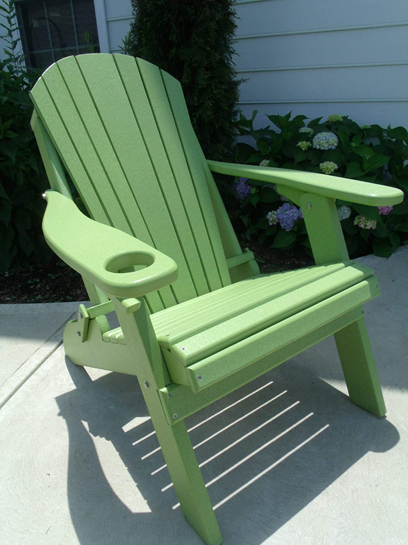 Furniture Barn USA Premium Folding Adirondack Chair w Cup Holder – Poly Lumber – Lime Green
