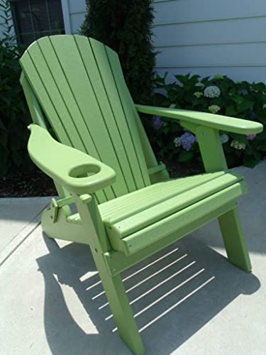 Furniture Barn USA Premium Folding Adirondack Chair w Cup Holder – Poly Lumber – Lime Green