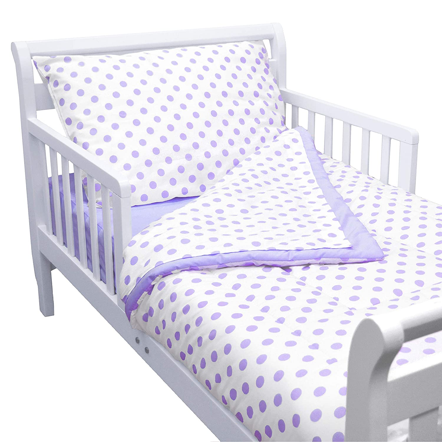 American Baby Company 100% Cotton Percale 4Piece Toddler Bedding Set, Lavender Dot, for Boys & Girls