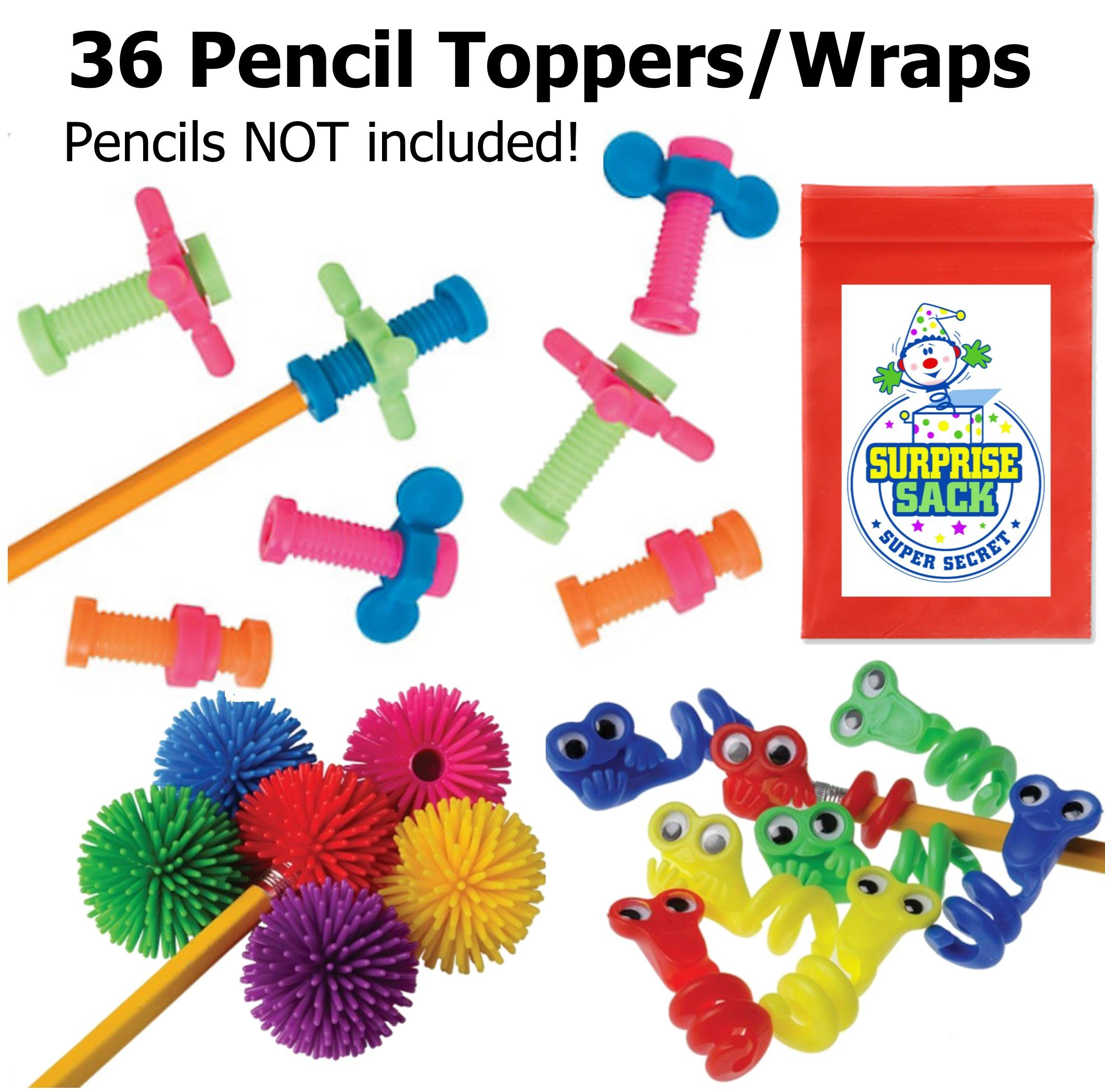Super Secret Surprise Sack Triple Fidget Pencil Topper Pack (36 pc) with 1 by Super Secret Surprise Sack