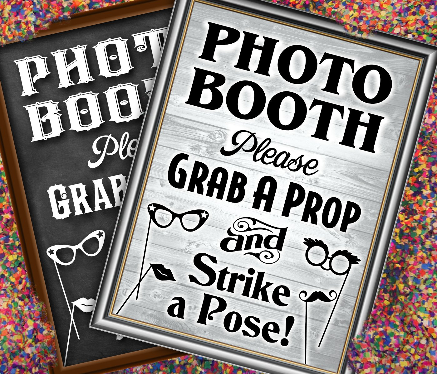 Bigtime Designs Photo Booth Props Sign, 2-Sided, Use for any Wedding, Party or Event Chalkboard Style on 1 Side and a Rustic Vintage Look on the 2nd, 16'' L x 12'' W
