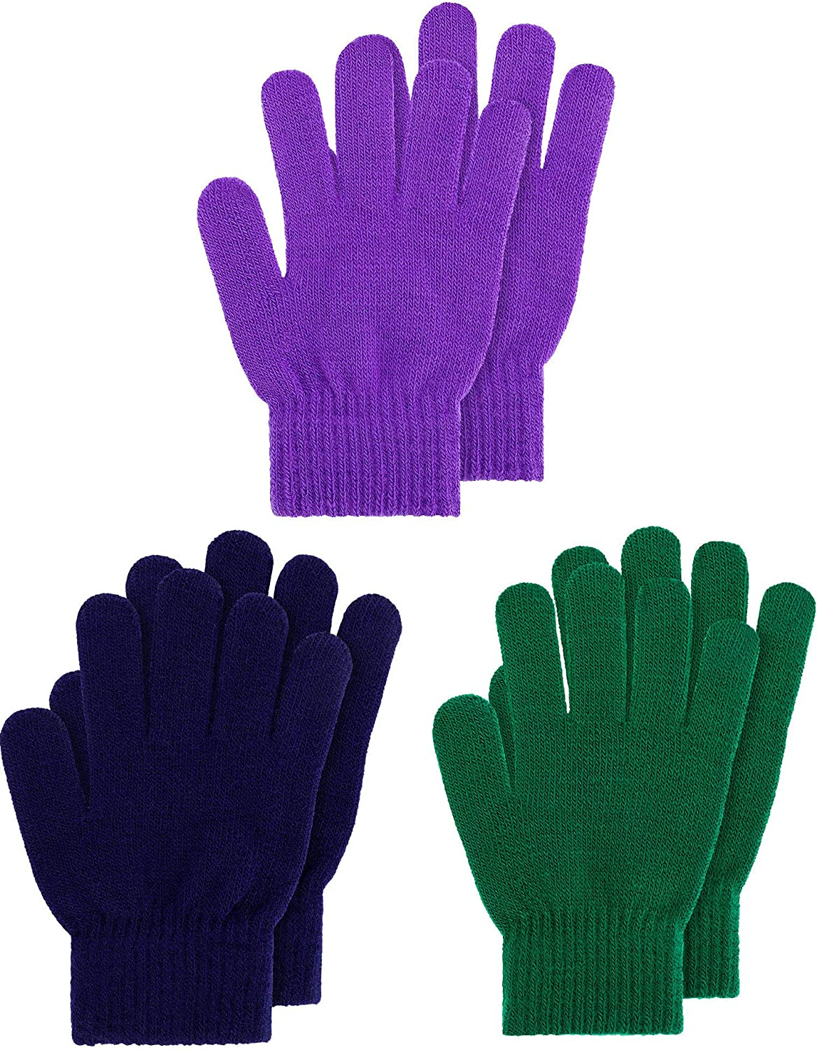 Kids Gloves Full Fingers Knitted Gloves Warm Mitten Winter Favor for Little Boys and Girls Color Set 8, 1-4 Years Size, 3 Pairs