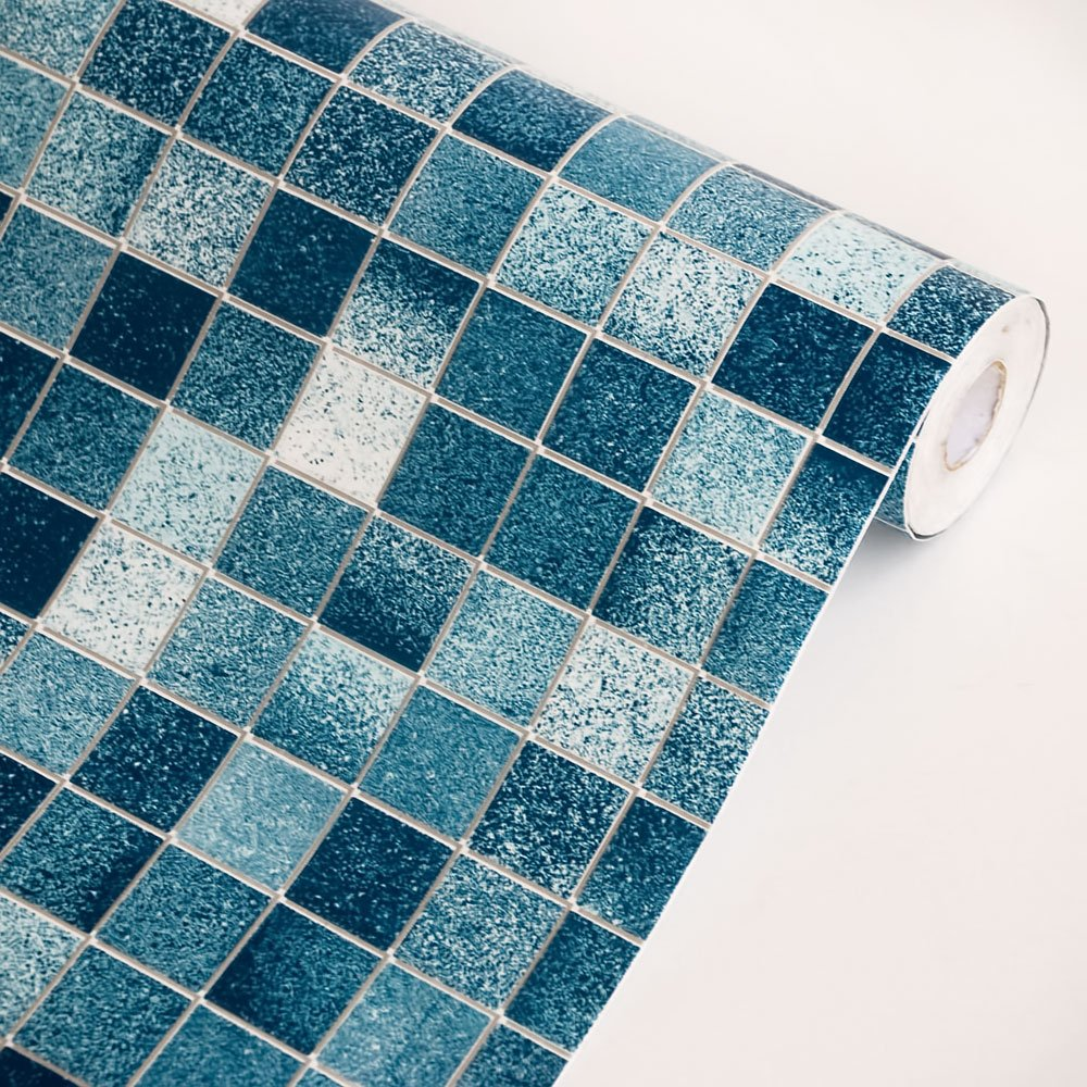 mosic blue vinyl self adhesive wallpaper prepasted wall stickers