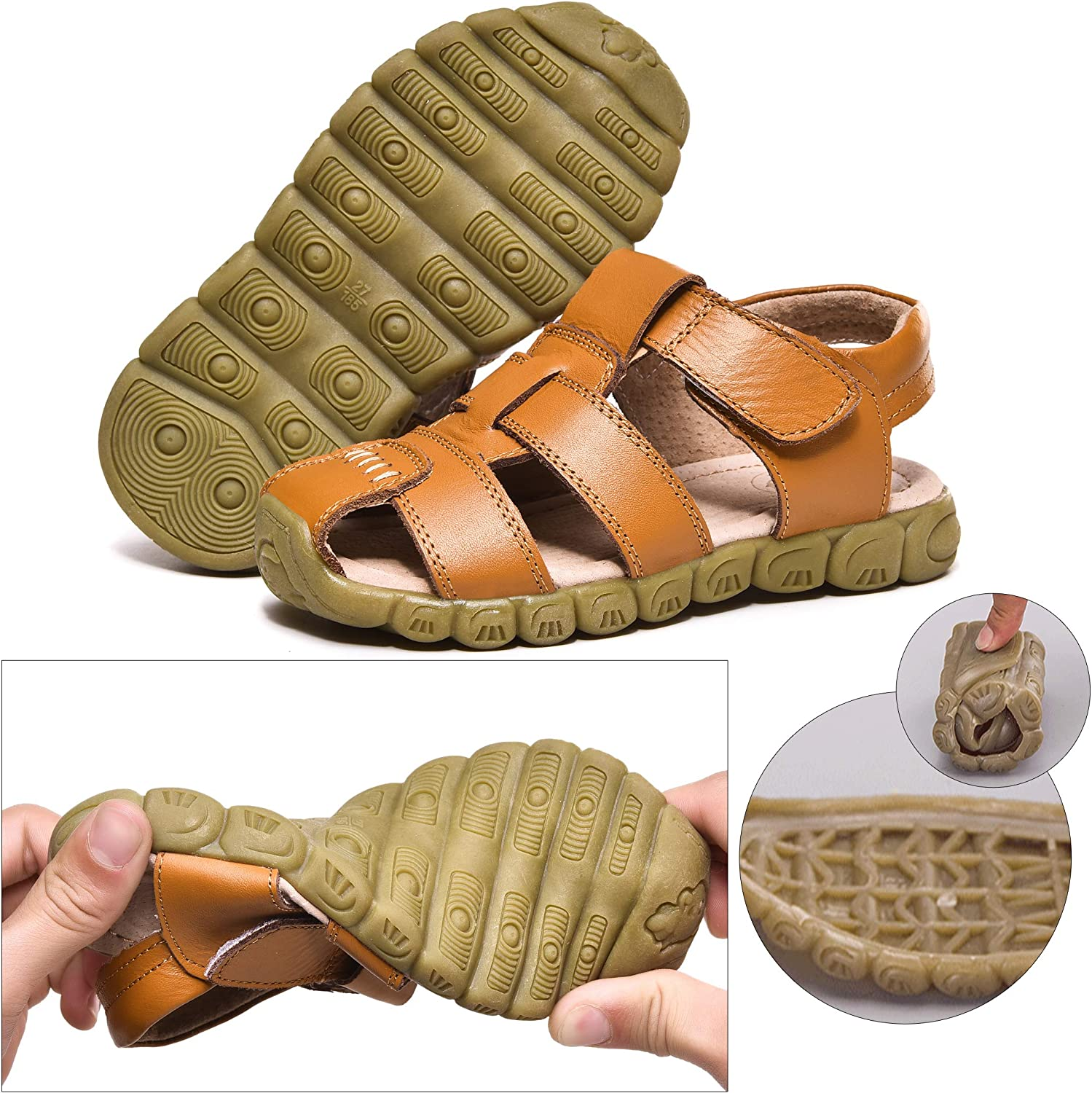 Boys Girls Leather Outdoor Sport Sandal Kids Beach Shoes Closed-Toe Shoes  Fisherman Sandals Casual Trekking Walking Hiking Toddler/Little Kid/Big Kid  Boys' Shoes Sandals