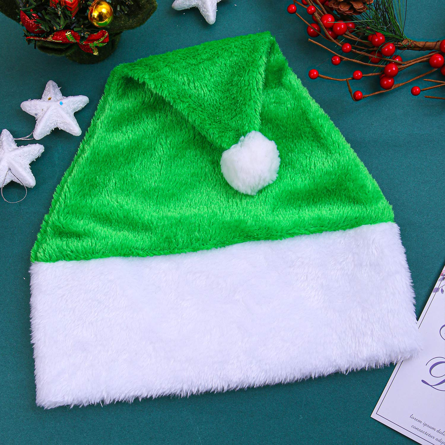 Aneco 6 Pack Christmas Santa Hats Green Hat Short Plush with White Cuffs Plush Fabric Santa Hat for Christmas Festive Holiday Party Supplies