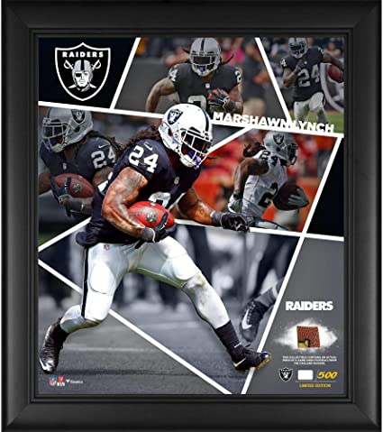 Marshawn Lynch Oakland Raiders Framed 15 quot  x 17 quot  Impact Player  Collage with a Piece 7564db485