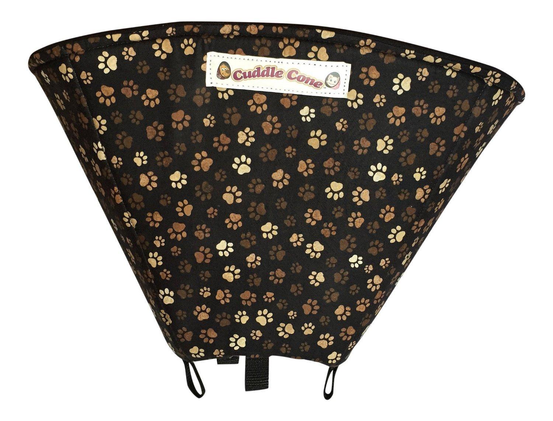 Cuddle Cone Pet Recovery Cone Soft E-collar - Black Paw Print (X-Small: 8''-10'')
