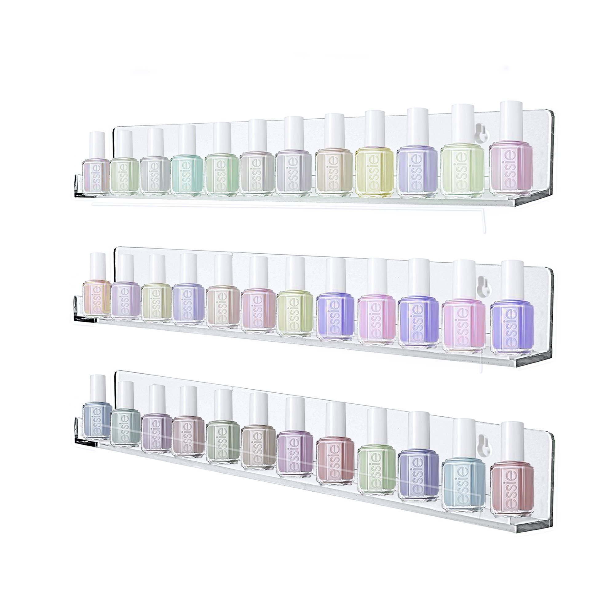 Aifaifa Acrylic Floating Shelf Nail Polish, Lipstick, Essential Oil, Cosmetic Displaying Storage, Set of 3 Shelves Holds up to 45 Bottles Nail Polish