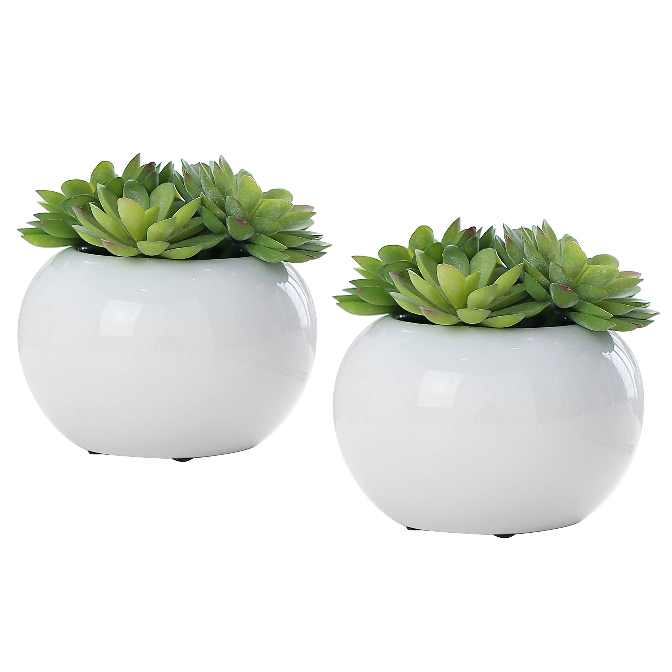 Set of 2 Modern Potted Green Artificial Succulent Plants in Round Glazed White Ceramic Pots by MyGift