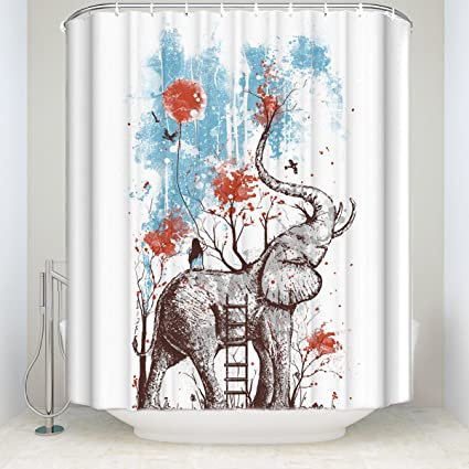 Custom Art Shower Curtains Nature Happy Elephant Print Bathroom Curtain Sets  With Hooks Waterproof Polyester Fabric