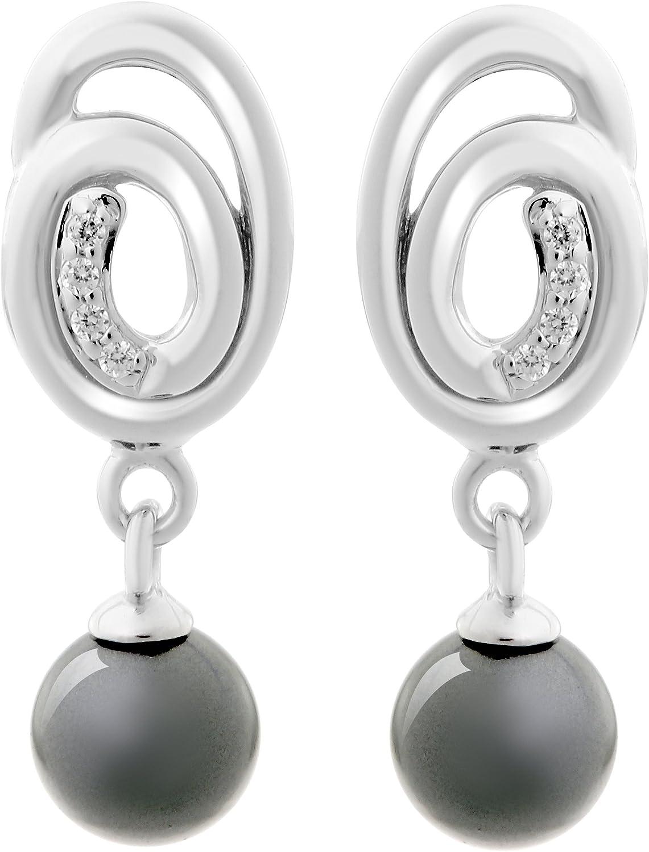 Orphelia Mujer plata de ley 925 plata corte brillante redondo gris blanco circonita perla
