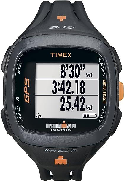 2acc9df71b0c Timex Unisex T5K744 Ironman Run Trainer 2.0 GPS Speed+Distance Black Orange  Watch