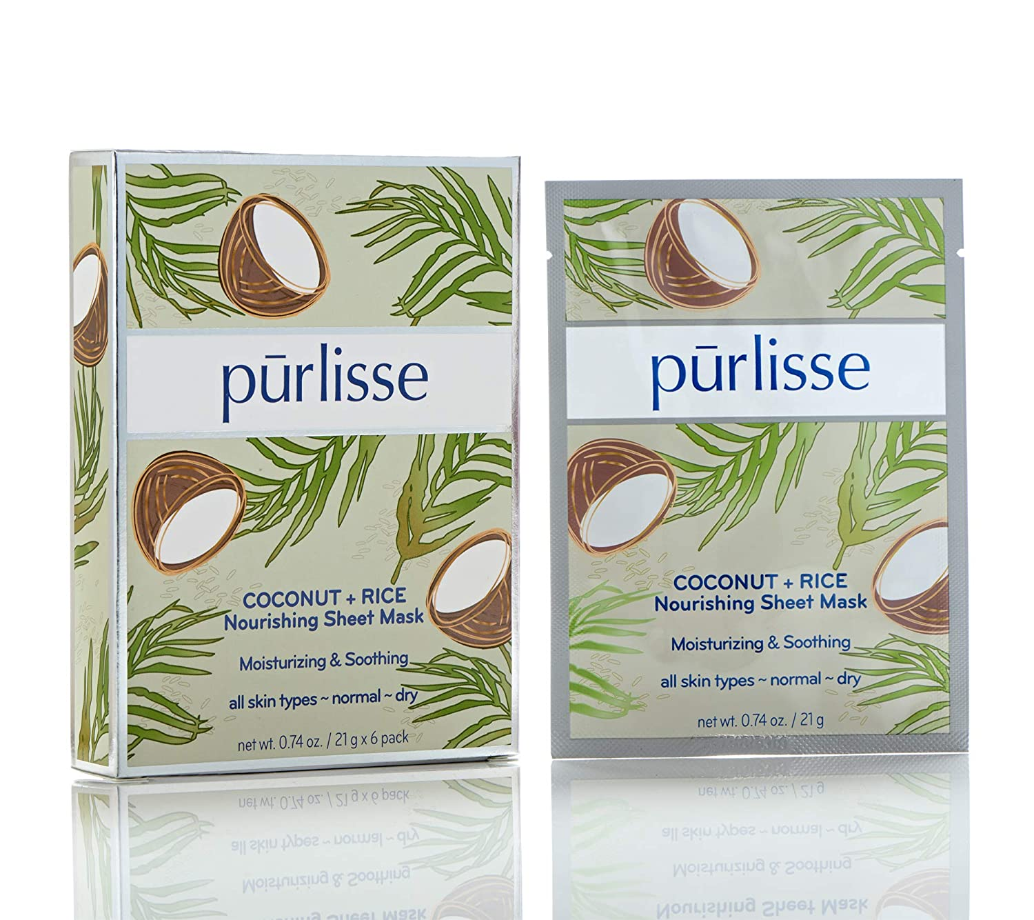 purlisse Coconut and Rice Nourishing Sheet Face Mask - Natural Moisturizing Korean Facial Mask for Dry and Combination Skin, 6 Pack Set of Sheet Masks