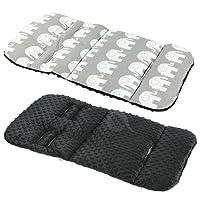 (grey ELEPHANT/black fleece) - REVERSIBLE cotton & minky Pram INSERT, LINER covers 5pt Universal (grey ELEPHANT/black fleece)