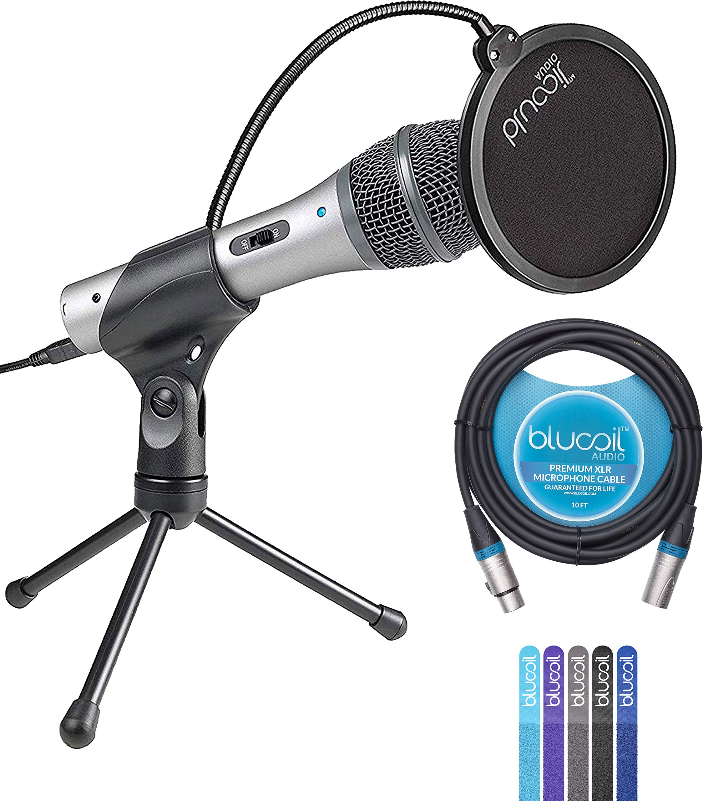 Audio-Technica ATR2100-USB Handheld Cardioid Dynamic USB and XLR Microphone Bundle with Blucoil Pop Filter, 10-Ft XLR Cable and 5-Pack of Reusable Cable Ties by Blucoil