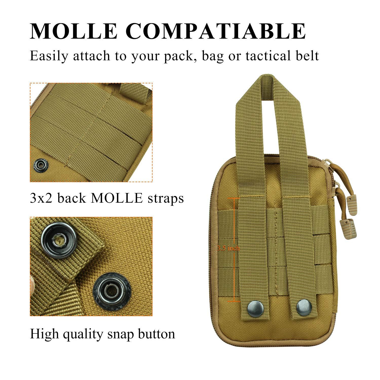 Molle Tactical Medical Bolsa organizadora de bolsillo para primeros auxilios EDC EMT con trabilla para cintur/ón.