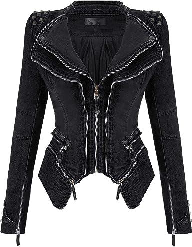 Women Real Leather Off Shoulder New Fashion Motorcycle Biker Punk Jacket Coats