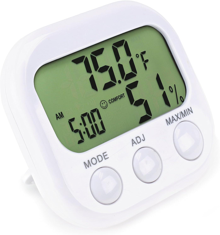 Indoor Thermometer Hygrometer Messgerät Temperatur-Feuchtigkeits-Monitor-Clock