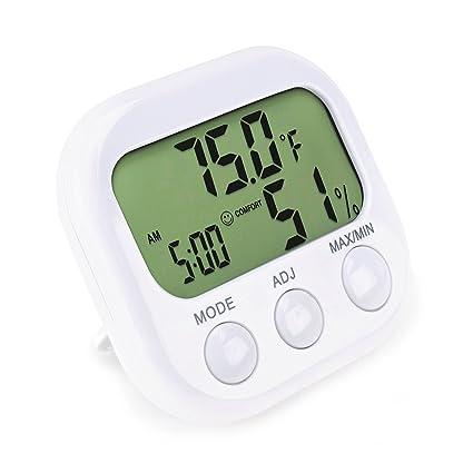 Amazon.com: Indoor Thermometer — Hygrometer & Desktop Clock — Easy ...