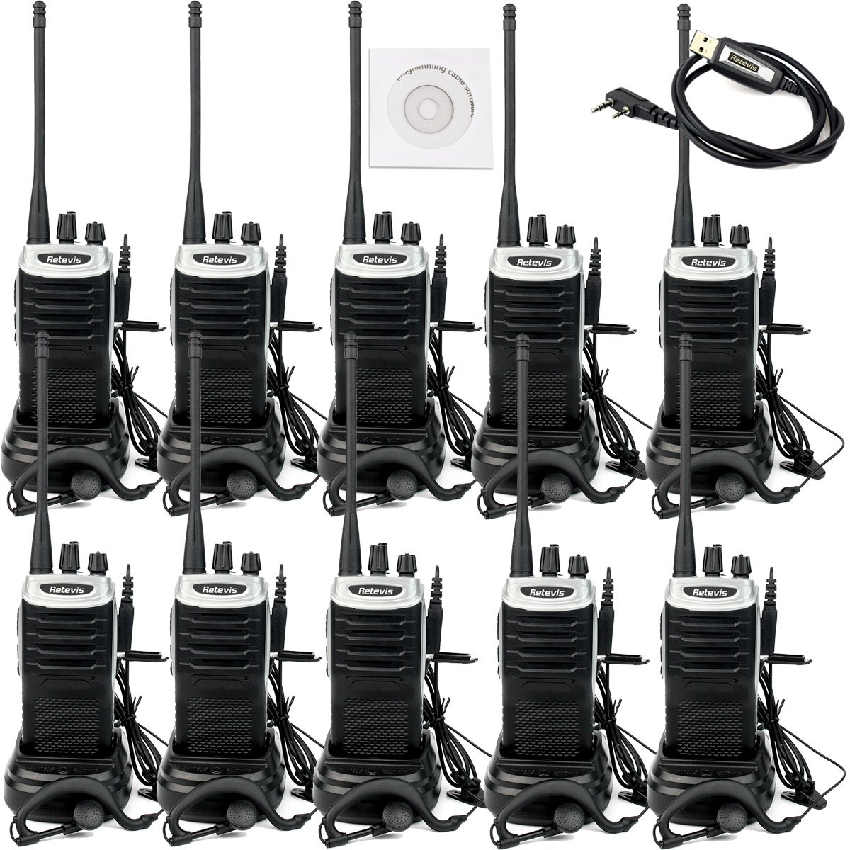 Retevis RT7 Walkie Talkies Rechargeable 3W VOX 16 CH 400-470 MHz FM Radio Two Way Radio with Earpiece (Silver Black Border,10 Pack) and Programming Cable