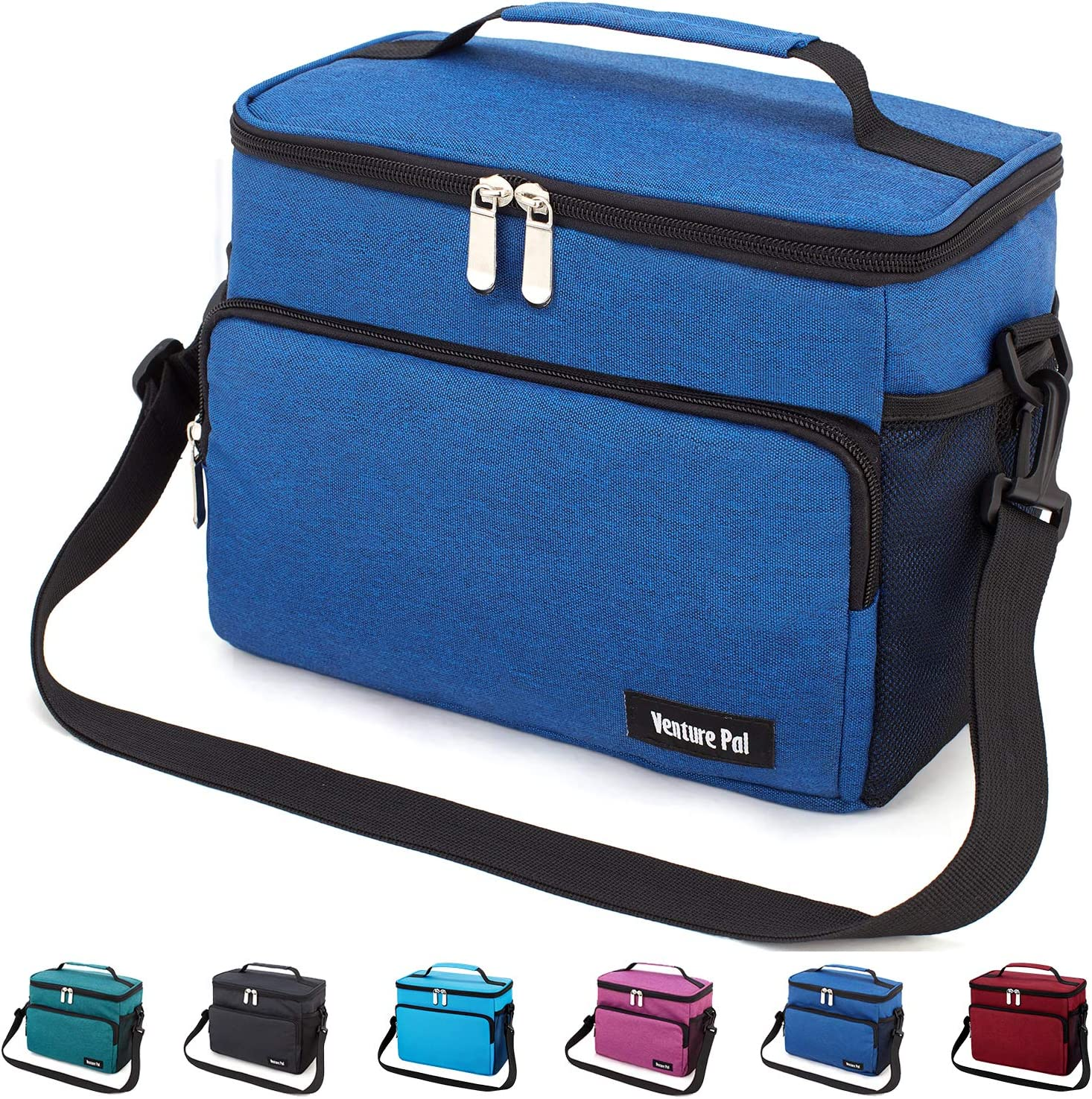 Leakproof Reusable Insulated Cooler Lunch Bag - Office Work Picnic Hiking Beach Lunch Box Organizer with Adjustable Shoulder Strap for Women,Men-Typical Blue