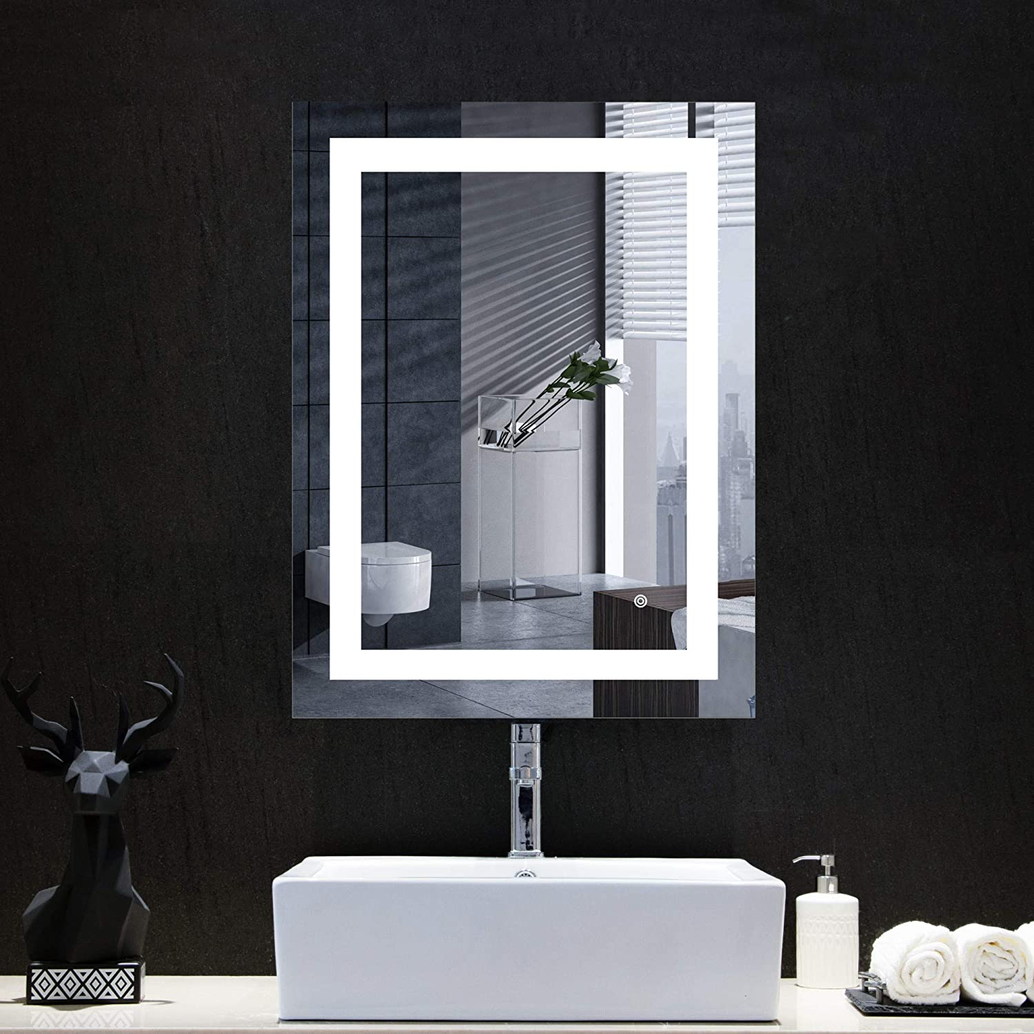 MIRPLUS 24 x 32 inch LED Vanity Bathroom Mirror with Touch Switch, Wall Mounted Backlit Lighted Makeup Mirror, Dimmable Color Temperature Warm/Cold White+AntiFog+Waterproof+ Vertical & Horizontal