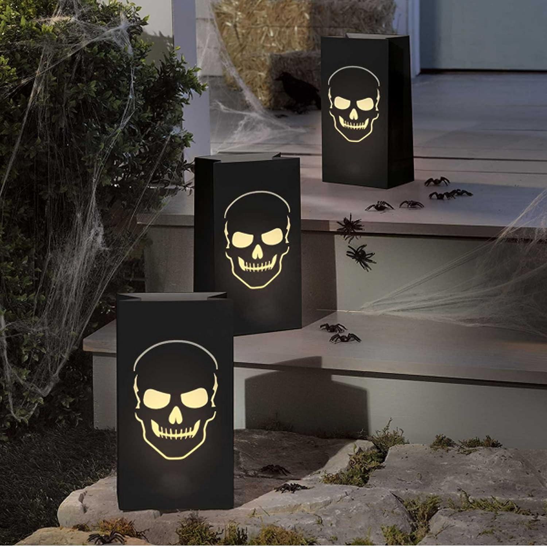 Luminary Bags * Totenkopf * grosse Papierlaternen zum Aufstellen als Halloween-Beleuchtung // 6 Stück Deko Party Lampion Lantern // 28x15x9cm Carpeta®