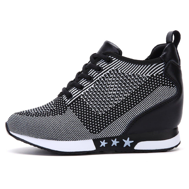 TQGOLD Women Hidden Wedges High Heels Sneaker Elevator Shoes High Top Height Increase(Size 39,Gray)