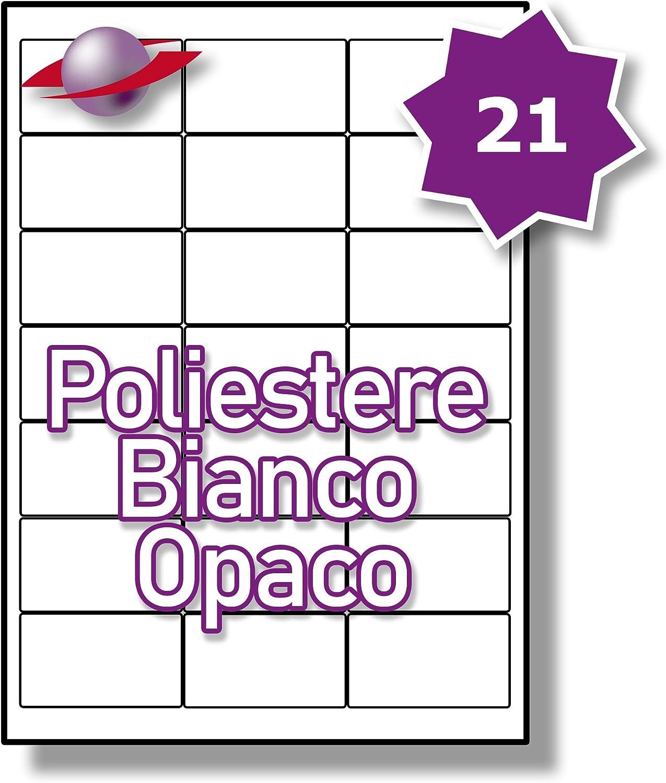 21 Par Foglio LP21//63 MWP. 525 Etichette Label Planet/® Etichette in Poliestere Bianco Matte A4 per la Stampa Laser 63.5 x 38.1mm 25 Fogli