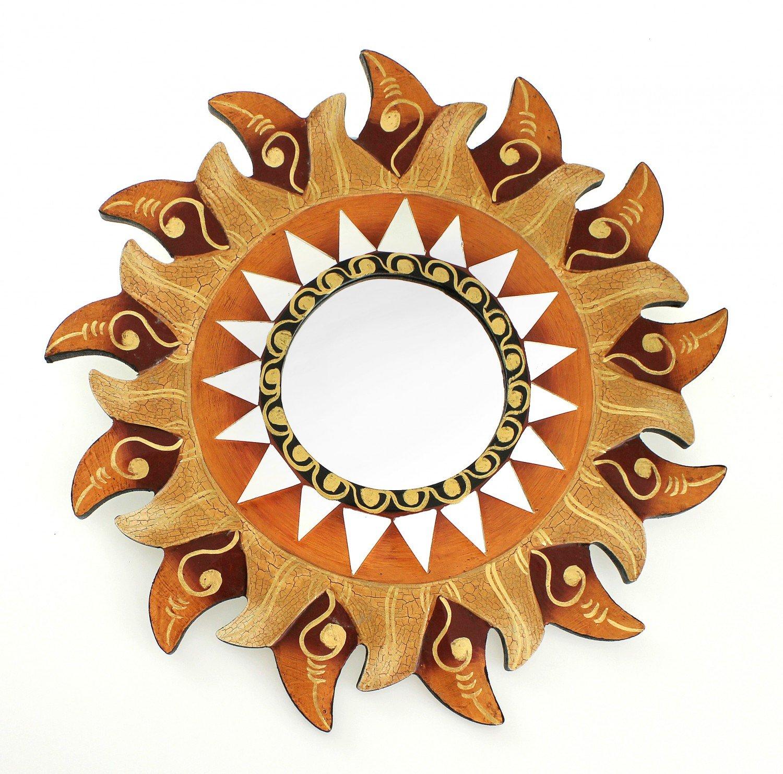 Feng Shui Spiegel Dekospiegel Sonne Ø 30 cm handgefertigt aus Holz braun gold, Wanddeko Wandsymbol Symbol Solarplexus Chakra, Chi Energie lenken, Energiespiegel TEMPELWELT
