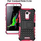 Heartly Flip Kick Stand Spider Hard Dual Rugged Shock Proof Tough Hybrid Armor Bumper Back Case Cover For Coolpad Note 3 Lite ( 5 Inch ) - Cute Pink