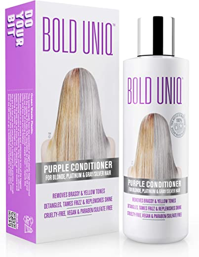 Purple Conditioner for Blonde, Platinum & Gray/Silver Hair. Reduce Brassy Yellow Tones. Toner for Bleached & Highlighted Hair - Moisturises - Cruelty Free, No Parabens or Sulfates - 237 ml