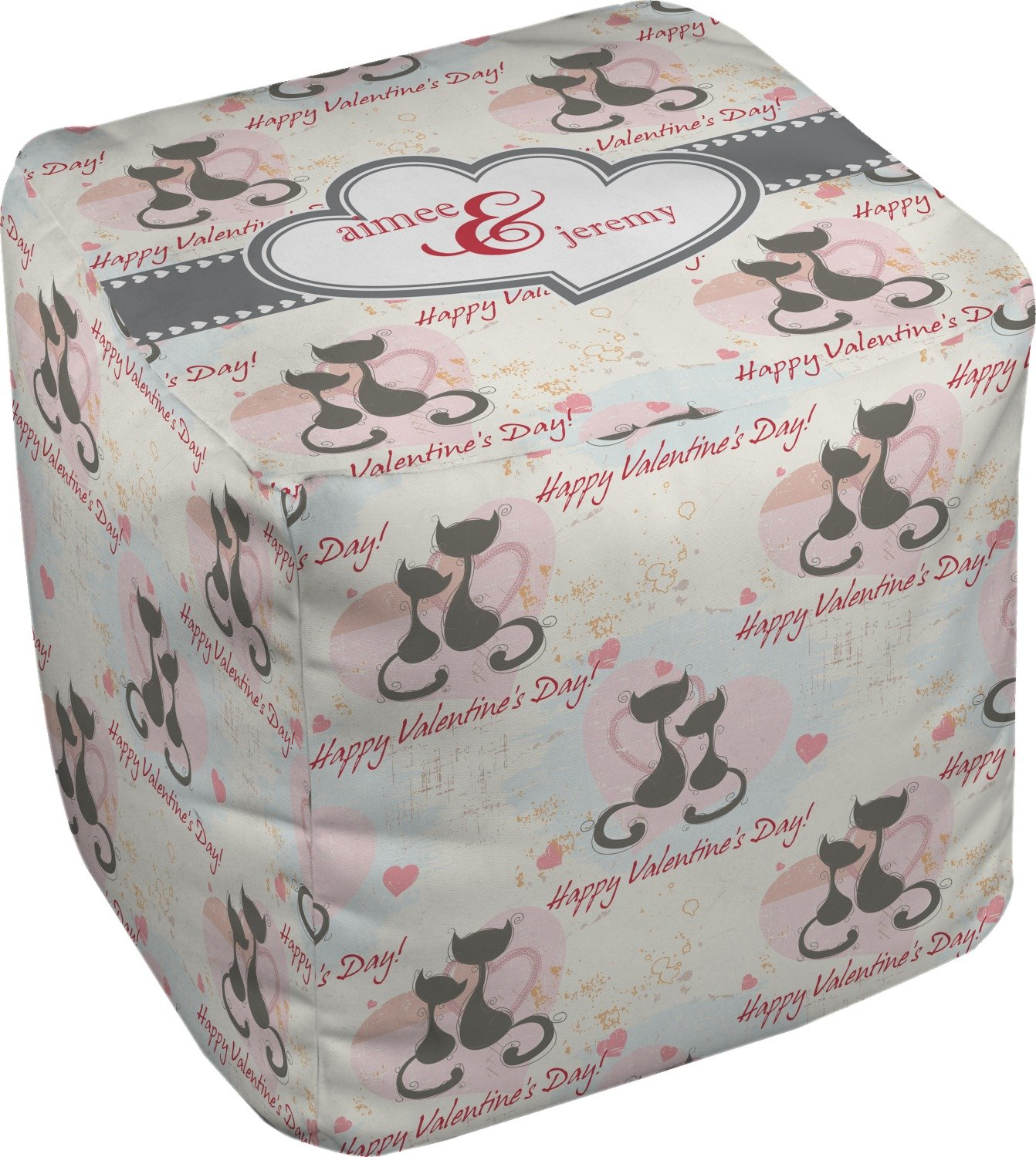 RNK Shops Cats in Love Cube Pouf Ottoman - 13'' (Personalized)