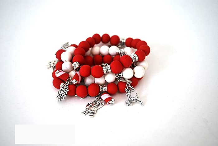 Polymer Clay Christmas Charms.Amazon Com Silvertone 3 Bracelets Stackable Stretch