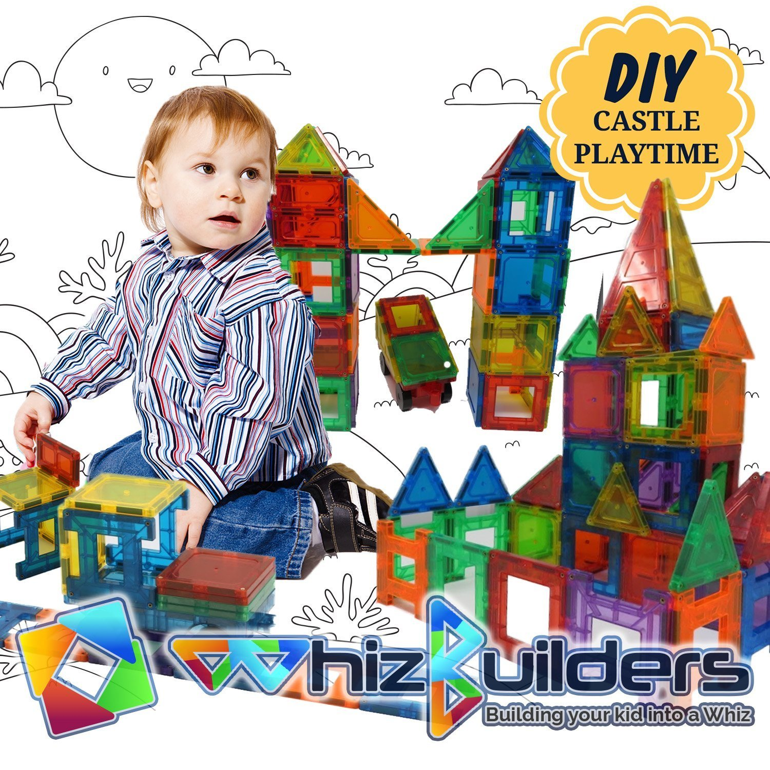 Magnetic Building Tiles Toys Set - Tiles Block Toy Kit for Kids - STEM Educational Construction Stacking Shapes - 60 Pieces by WhizBuilders (Image #5)