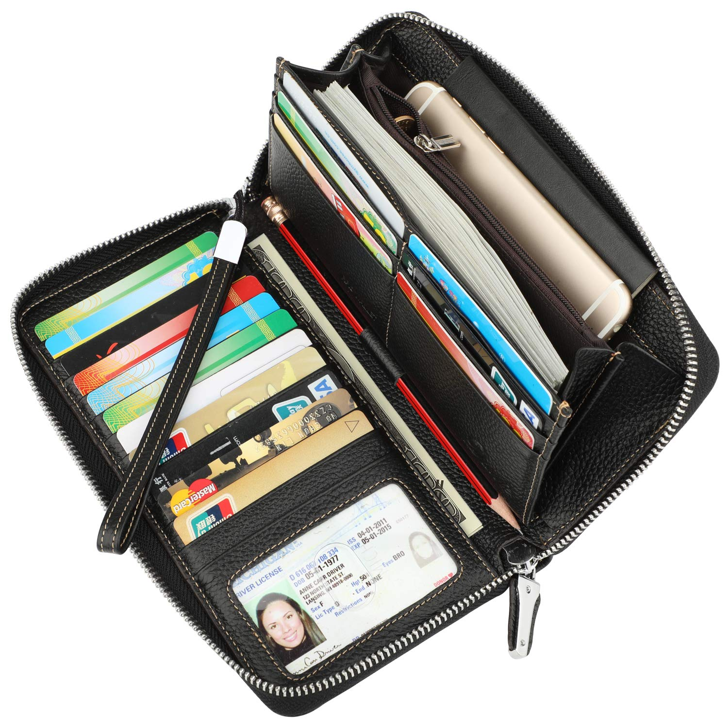Lavemi Women's RFID Blocking Real Leather Zip Around Wallet Clutch Large Travel Purse Wristlet(Large Size Pebble Black)