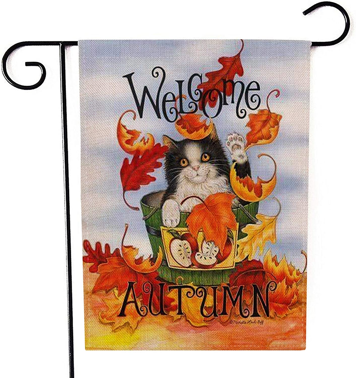 "Cat Welcome Autumn Garden Flag Double-Sided Farmhouse Autumn Yard Burlap Banner,Flag for Fall,Thanksgiving Indoor Outdoor Decoration 12.6"" x 18.5"""