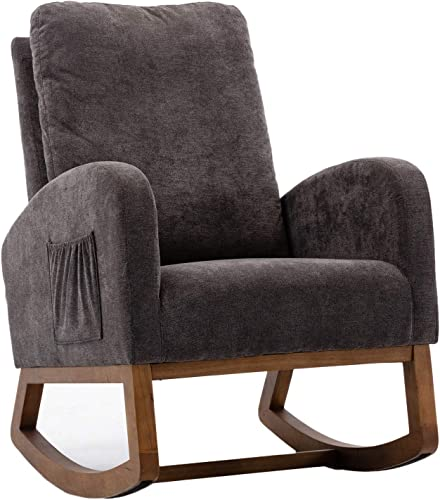 TITA-DONG Upholstered Rocking Chair,Fabric Accent Armchair Wooden Padded Seat
