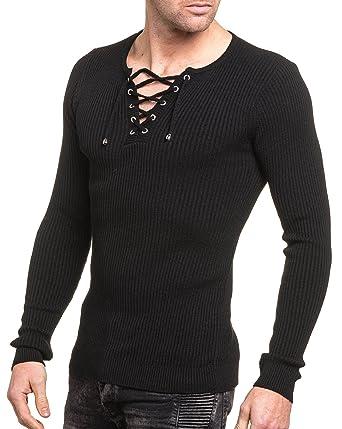 ea5fde09de4b6 BLZ Jeans - Pull Homme Noir uni Moulant col v à Lacet - Couleur  Noir